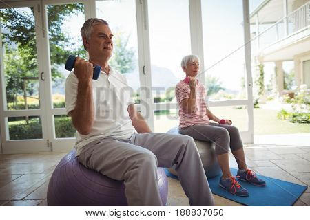 Senior couple exercising with dumbbells on exercise ball at home