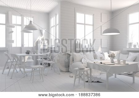 3d render of modern white  clean interior room
