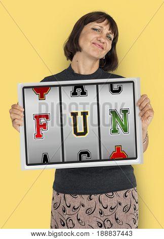 Woman showing fun slot word