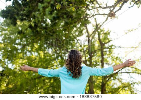 Rear view of woman standing with arms wide open in the park