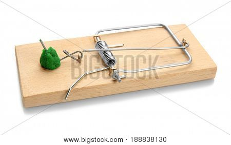 Mouse trap with rat poison on white background