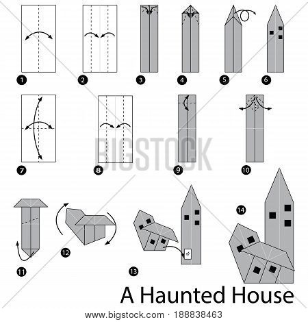 step by step instructions how to make origami A Haunted House.