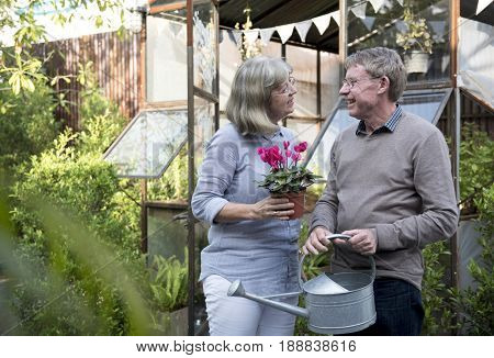 Senior caucasian couple in the backyard garden