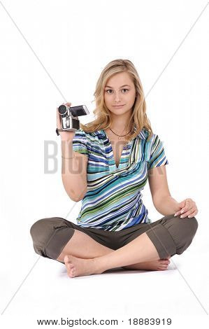 Blonde girl with video camera