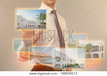 Man choosing last minute tour on virtual screen. Travel agency concept