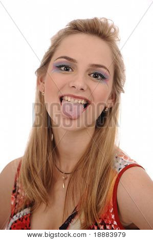 Pretty blonde woman put out her tongue