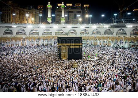 Muslims pilgrims from all around the world circumabulate (tawaf) the Kaaba at Masjidil Haram, Mecca, Saudi Arabia