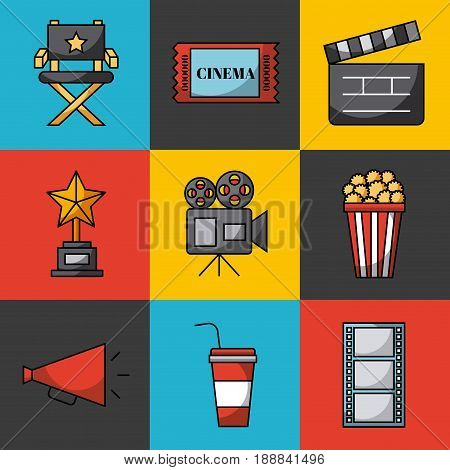 icons set cinema vector icon illustration design graphic
