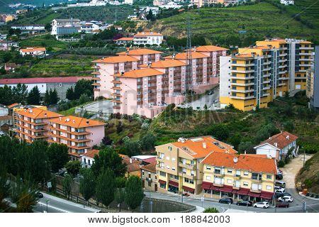 Top view of Peso da Regua city, northern Portugal.