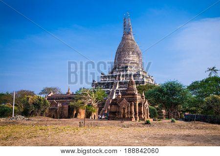 Shwesandaw Pagoda temple in Bagan. Myanmar (Burma)