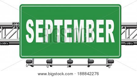 september road sign for end of summer and begin fall or autumn month event agenda, 3D, illustration