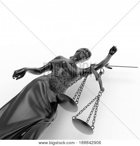 Broken lady of justice 3d rendering