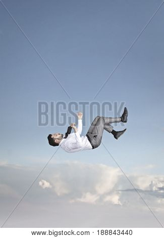Employee falling from the sky