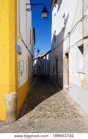 typical street in the city of Evora, Portugal