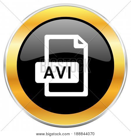 Avi file black web icon with golden border isolated on white background. Round glossy button.