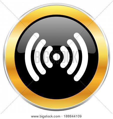 Wifi black web icon with golden border isolated on white background. Round glossy button.
