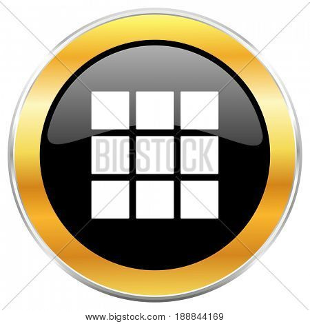 Thumbnails grid black web icon with golden border isolated on white background. Round glossy button.