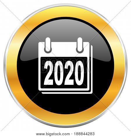 New year 2020 black web icon with golden border isolated on white background. Round glossy button.