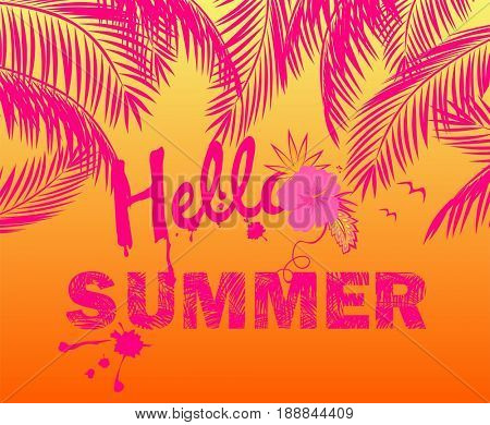 Hot summery pink poster with palm leaves and hello summer lettering