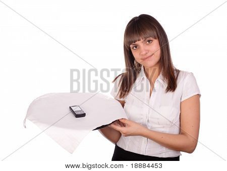 pretty young waitress with cell phone on tray isolated on white
