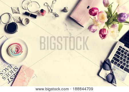 Woman Feminine Lifestyle Shopping Fashionista with Marble Background
