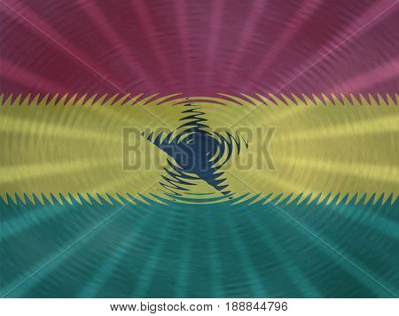 Ghana flag background with ripples and rays illustration