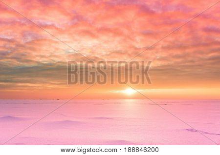 Sunset in the Arctic Desert Scene