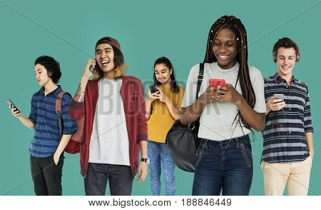 Diverse of Young Adult People Using Mobile Devices Studio Isolated