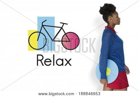 African Woman Studio Shoot on White Background Bike Icon