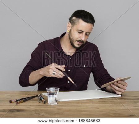 Man Brush Drawing Color Palette Arts Studio Portrait