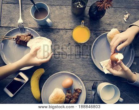 Breakfast Eating Meal Flat Lay Concept