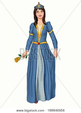Young princess wearing a blue dress. Digital illustration created from scratch using a graphic tablet.
