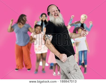Various of diversity people dancing with music on background