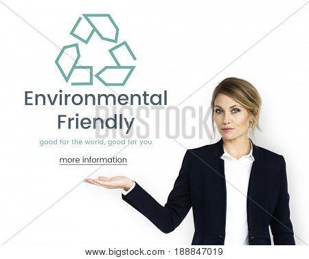Businesswoman showing environment concept