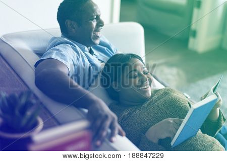 Lovely african couple wife lean on husband