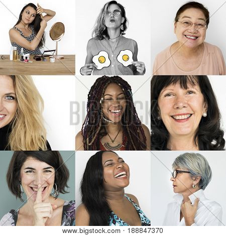 Set of Diversity Women Face Expression Lifestyle Studio Collage