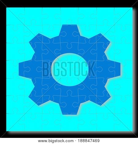 Industrial cog in jigsaw puzzle