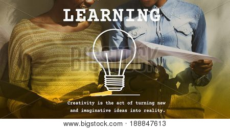 Woman Learning Study Education Knowledge Word Graphic Light Bulb