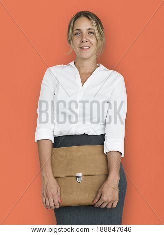 Caucasian Business Woman Holding Bag