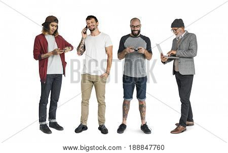 Group of people with digital devices communication technology