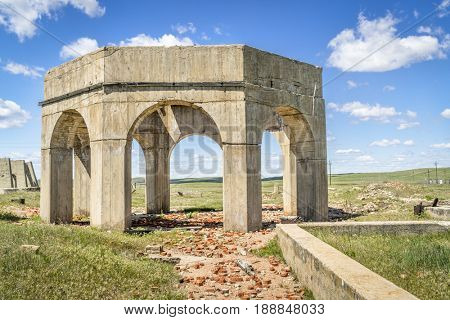 concrete ruins of one of five reduction plants and pump stations manufacturing potash during World War I near Antioch, Nebraska