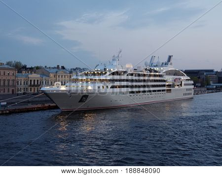 ST. PETERSBURG, RUSSIA - MAY 19, 2017: Cruise liner Le Soleal moored at English embankment. Designed in 2013, the ship owned by PONANT has only 132 staterooms and suites for luxury journey