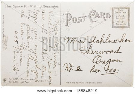 SHERWOOD, OREGON, USA - CIRCA EARLY 1900s: Unstamped post card with message about pickling and mailing and return addresses