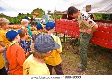 GRANITE BAY, CALIFORNIA, USA - October 18, 2009: Cub Scouts examine an old red hay wagon while on a field trip to a pumpkin farm