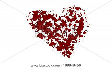 Heart bleeding isolated. Lost a lot of blood, having a hemorrhage. The blood on the white background