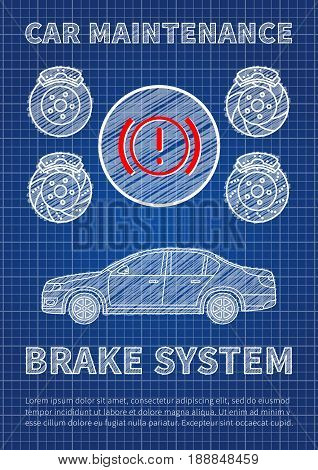 Brake system car maintenance vector illustration. Check brake system sign graphic design. Blue print concept of service maintenance banner with car and sample text.