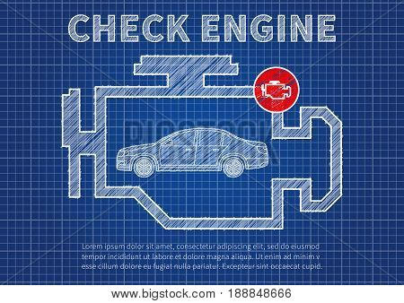 Check engine car diagnostics vector illustration. Car technical service concept with check engine warning sign.