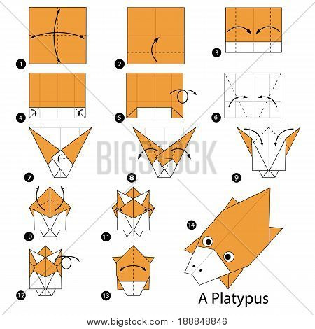step by step instructions how to make origami A Platypus.
