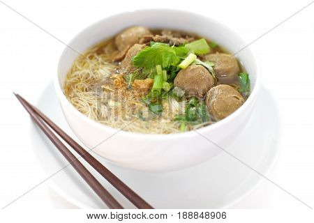Asian food Beef and meat ball noodle soup