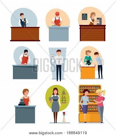 Staff set of sellers. Bartender, fast food employee, butcher, seller of coffee, jewelry, flowers, perfume and cell phones, cashier. Modern vector illustration isolated on white background.